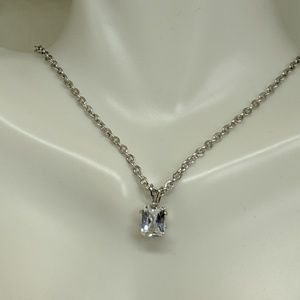 Jewelry - Silver Steel CZ Solitaire Pendant Necklace